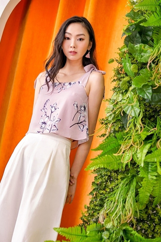 ARIN FLORAL TIE RIBBON TOP #MADEBYLOVET (TAUPE PINK)