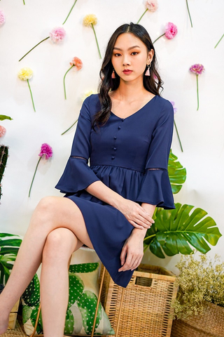 BELIS BUTTON BELL-SLEEVE DRESS #MADEBYLOVET (NAVY)