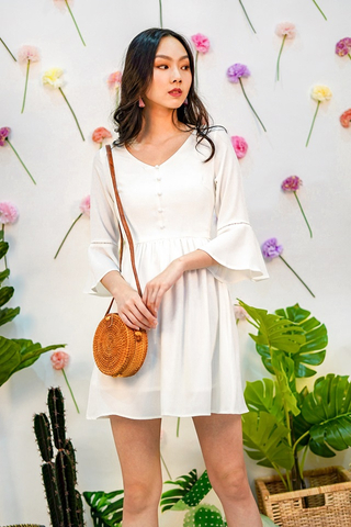 BELIS BUTTON BELL-SLEEVE DRESS #MADEBYLOVET (WHITE)