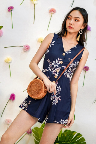 GINIE FLORAL BUTTON V-NECK ROMPER WITH SASH #MADEBYLOVET (NAVY)