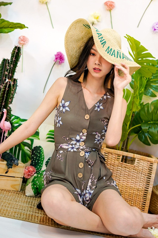 GINIE FLORAL BUTTON V-NECK ROMPER WITH SASH #MADEBYLOVET (OLIVE)