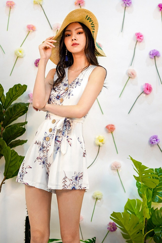 GINIE FLORAL BUTTON V-NECK ROMPER WITH SASH #MADEBYLOVET (WHITE)