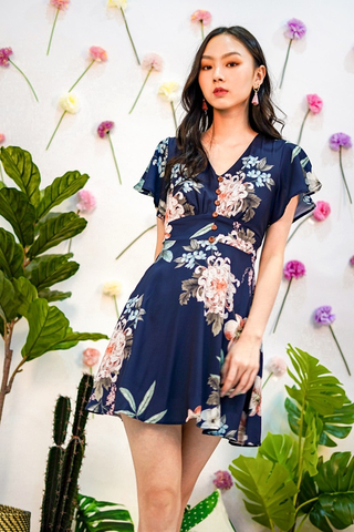 CHRISELLE FLORAL V-NECK BUTTON DRESS #MADEBYLOVET (NAVY)