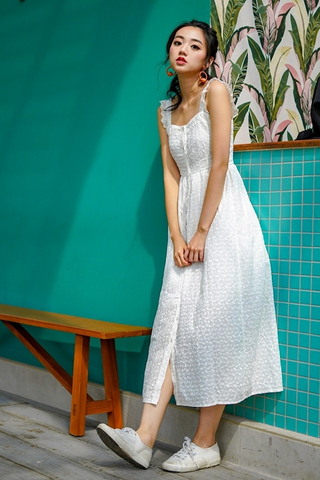 DERRINE EYELET RUFFLES MAXI DRESS (WHITE)