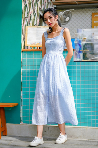 DERRINE EYELET RUFFLES MAXI DRESS (PERIWINKLE)