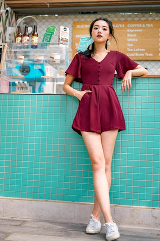 ELLE BUTTON ROMPER #MADEBYLOVET (WINE)