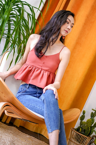 ELVY BUTTON PEPLUM TOP #MADEBYLOVET (TERRACOTTA)