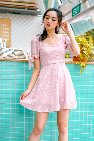 FAWN SWEETHEART FLORAL BUTTON DRESS #MADEBYLOVET (DUSTY PINK)