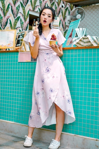 TIFFANY FLORAL KIMONO TIE STRING WRAP DRESS #MADEBYLOVET (POWDER PINK)