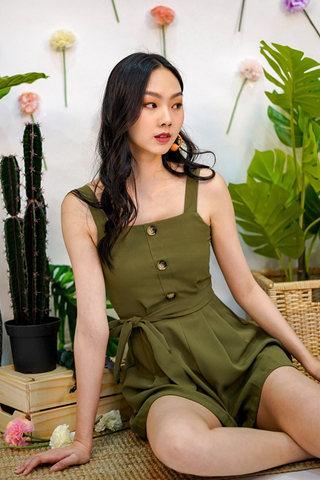 CHELSEA BUTTON ROMPER WITH SASH #MADEBYLOVET (OLIVE)