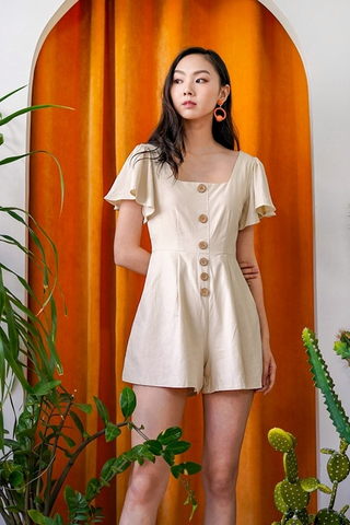 KAZEL LINEN SQUARE NECK BUTTON ROMPER #MADEBYLOVET (SAND)