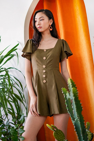 KAZEL LINEN SQUARE NECK BUTTON ROMPER #MADEBYLOVET (OLIVE)