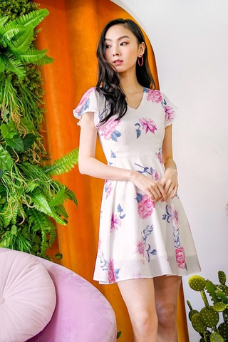 LINA V-NECK FLORAL DRESS #MADEBYLOVET (WHITE)