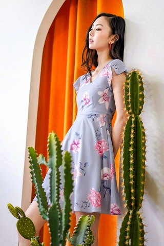 LINA V-NECK FLORAL DRESS #MADEBYLOVET (GREYISH BLUE)