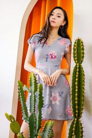 LINA V-NECK FLORAL DRESS #MADEBYLOVET (GREYISH BLUE)