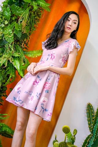 LINA V-NECK FLORAL DRESS #MADEBYLOVET (TAUPE PINK)