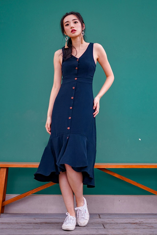 SHIRLEY BUTTON MIDI DOWN DRESS  #MADEBYLOVET (NAVY)