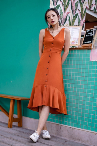 SHIRLEY BUTTON MIDI DOWN DRESS  #MADEBYLOVET (CARAMEL)