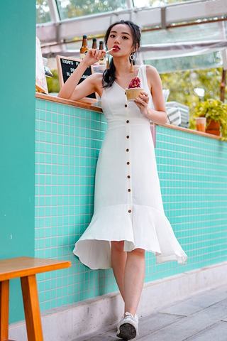 SHIRLEY BUTTON MIDI DOWN DRESS  #MADEBYLOVET (WHITE)
