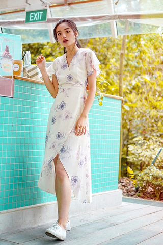 TIFFANY FLORAL KIMONO TIE STRING WRAP DRESS #MADEBYLOVET (CREAM)