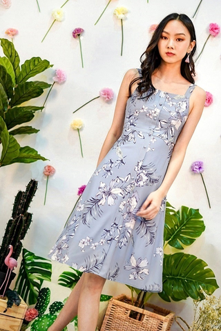 VERALYNN FLORAL BUTTON MIDI DRESS #MADEBYLOVET (DUSTY BLUE)