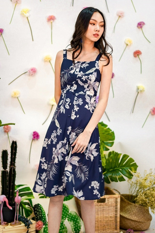 VERALYNN FLORAL BUTTON MIDI DRESS #MADEBYLOVET (NAVY)