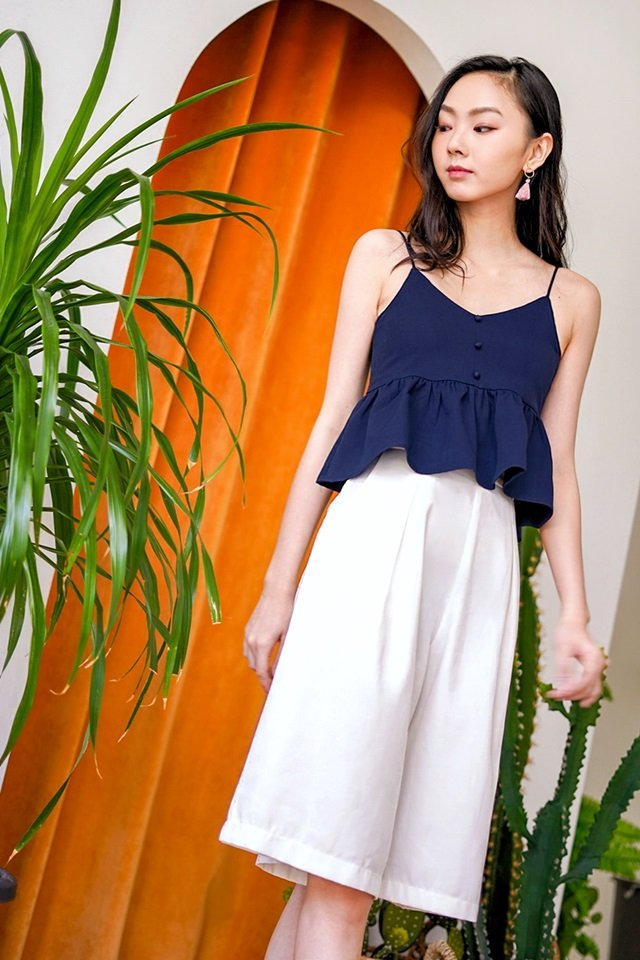 ELVY BUTTON PEPLUM TOP #MADEBYLOVET (NAVY)