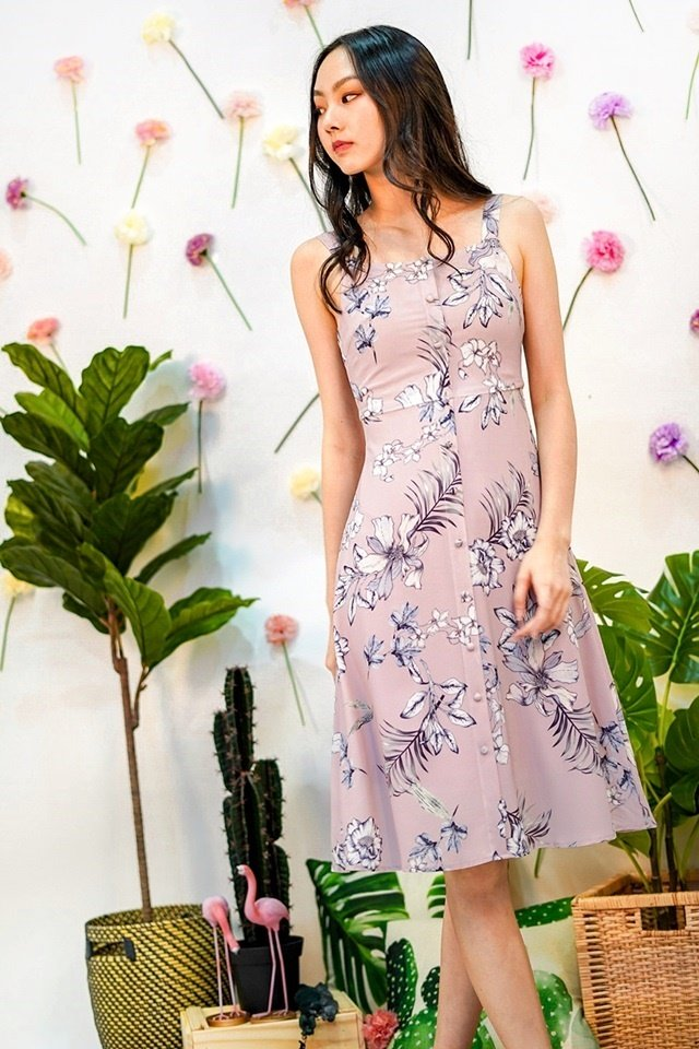 VERALYNN FLORAL BUTTON MIDI DRESS #MADEBYLOVET (DUSTY PINK)