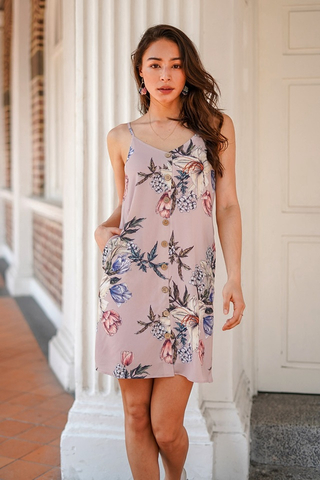 CARINNA FLORAL BUTTON SPAG DRESS #MADEBYLOVET (DUSTY PINK)