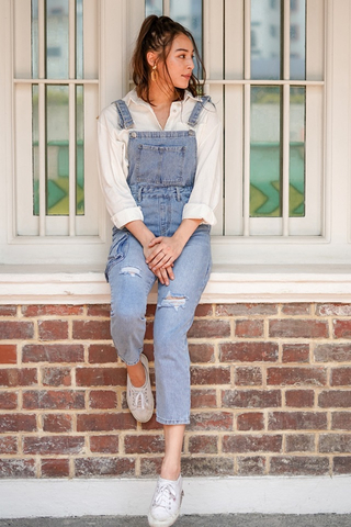 DAYUM GURL! DENIM RIPPED DUNGAREE *RESTOCKED*