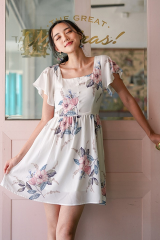 DIONNE SQUARE NECK FLORAL DRESS #MADEBYLOVET (WHITE)