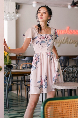 DIONNE SQUARE NECK FLORAL DRESS #MADEBYLOVET (BLUSH)