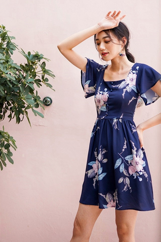 DIONNE SQUARE NECK FLORAL DRESS #MADEBYLOVET (NAVY)