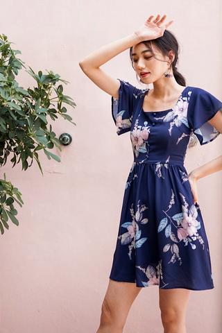 DIONNE SQUARE NECK FLORAL DRESS #MADEBYLOVET (NAVY)