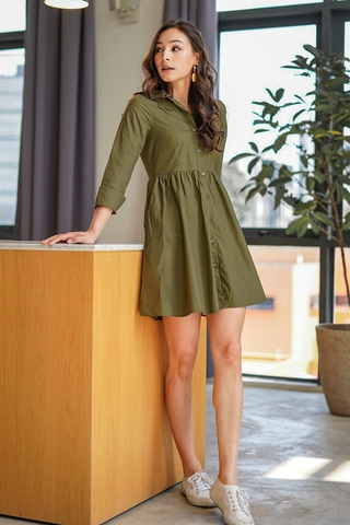 DRINA BABYDOLL SHIRT DRESS #MADEBYLOVET (OLIVE GREEN)