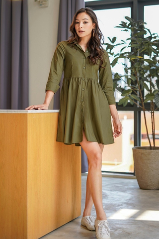 DRINA BABYDOLL SHIRT DRESS #MADEBYLOVET (OLIVE GREEN)
