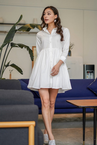 DRINA BABYDOLL SHIRT DRESS #MADEBYLOVET (WHITE)