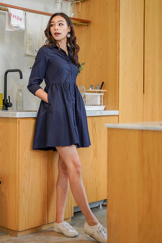 DRINA BABYDOLL SHIRT DRESS #MADEBYLOVET (NAVY)