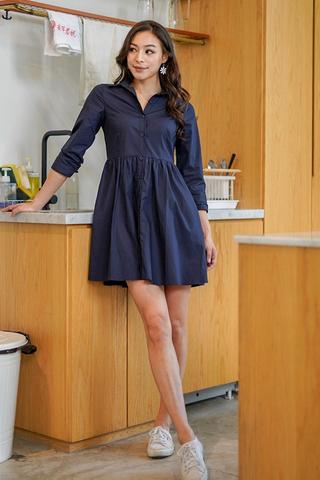 DRINA BABYDOLL SHIRT DRESS #MADEBYLOVET (NAVY)