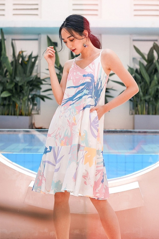 EVADNE ABSTRACT PRINT DROPWAIST SPAG DRESS #MADEBYLOVET (PADDLEPOP)
