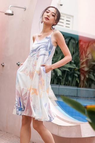 EVADNE ABSTRACT PRINT DROPWAIST SPAG DRESS #MADEBYLOVET (PASTEL)