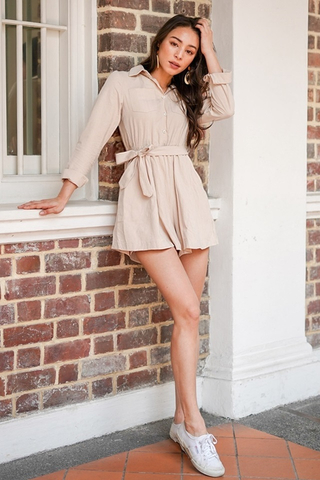 RUTH LINEN SHIRT ROMPER WITH SASH #MADEBYLOVET (SAND)