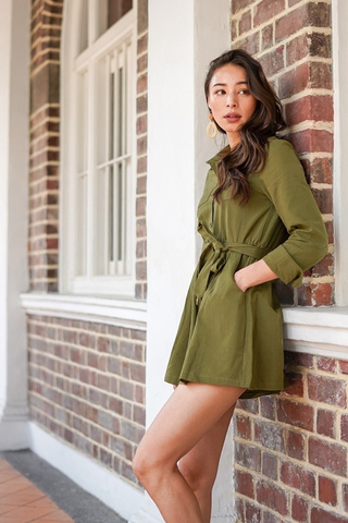 RUTH LINEN SHIRT ROMPER WITH SASH #MADEBYLOVET (OLIVE)