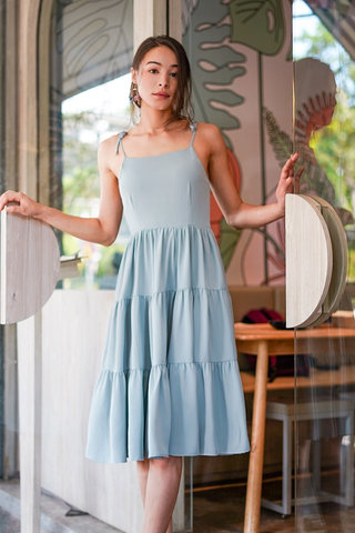 XOELLE TIE-STRING TIERED MIDI DRESS #MADEBYLOVET (SEAFOAM) *RESTOCKED*