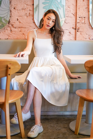 XOELLE TIE-STRING TIERED MIDI DRESS #MADEBYLOVET (WHITE) *RESTOCKED*