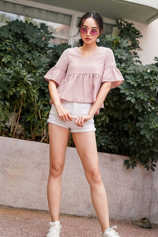 JOEVE BABYDOLL SLEEVE TOP #MADEBYLOVET (DUSTY PINK)