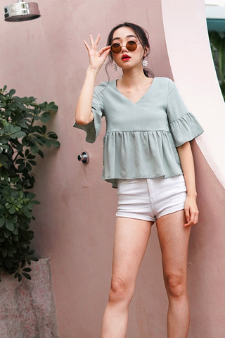 JOEVE BABYDOLL SLEEVE TOP #MADEBYLOVET (JADE GREEN)