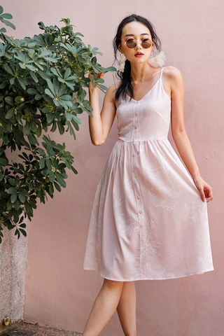 KAELYN ABSTRACT FLORAL BUTTON MIDI SPAG DRESS #MADEBYLOVET (BLUSH)