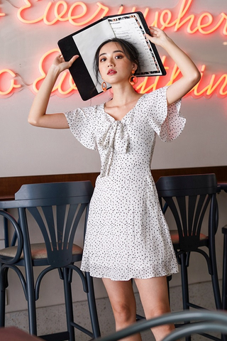 MEGAN DOTTED SWEETHEART RIBBON DRESS #MADEBYLOVET (WHITE)