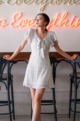 MEGAN DOTTED SWEETHEART RIBBON DRESS #MADEBYLOVET (WHITE)